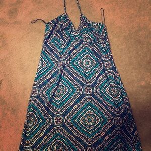 Blue and white halter dress H&M size 14 NWT